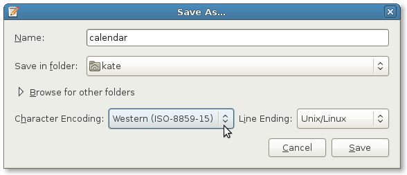 gedit's Save as... dialog