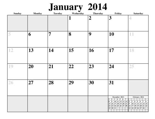 First page of a multi-page calendar, January 2014