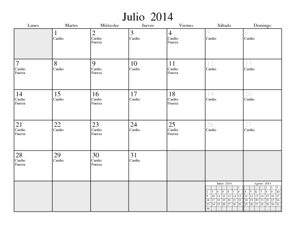 July 2014 with daily events